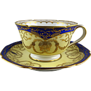 11 Noritake Morimura Cobalt & Gold Ornately Decorated Cup and Saucer Sets