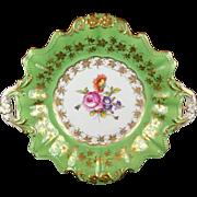 Dresden Porcelain Handled Decorative Plate - Artist Signed Hahn - Floral Center, Green Verge and Elaborate Gold Trim