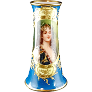 "Klemm Dresden ""Clementine"" Artist Signed Small Porcelain Portrait Vase with Blue and Heavy Raised Gold Ornamentation"