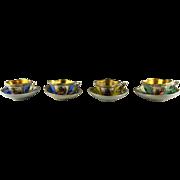 4 Antique Porcelain Quatrefoil Miniature Cup and Saucer Sets - Hand Painted Figures - Gold Interiors