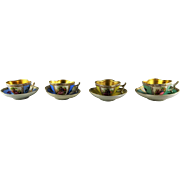 4 Antique Porcelain Quatrefoil Miniature Cup and Saucer Sets - Hand Painted Figures - Gold Interiors