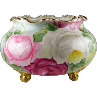 Belleek (Unmarked) Porcelain Footed Fernery - Hand Painted Pink Roses and Gold Trim