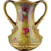 Very Large Royal Bonn Art Nouveau Floral Two-Handled Vase