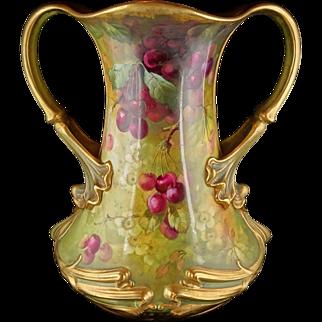 Very Large Royal Bonn Art Nouveau Floral Two-Handled Vase