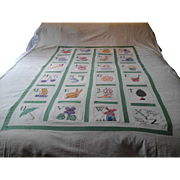 Vintage Hand Appliqued and Embroidered A-Z Alphabet Quilt Top or Bedcover - Red Tag Sale Item