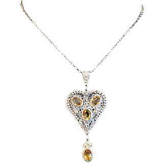 Fine Sterling Silver Filigree Pendant With Sparkling Citrine Stones and Chain