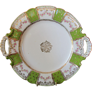 Large Two Handled Austrian Porcelain Serving plate in lime green, gold and white