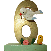 Hand Painted Wood Erzgebirge 6th Birthday Cake Decoration