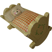 Miniature Vintage Erzgebirge Wendt and Kuhn Baby in Crib