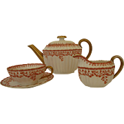 Antique English Copeland China Three Piece Teapot, Milk Jug and Cup and Saucer Set - Beatrice Pattern c 1860