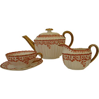 Antique English Copeland China Three Piece Teapot, Creamer and Cup and Saucer Set - Beatrice Pattern c 1860