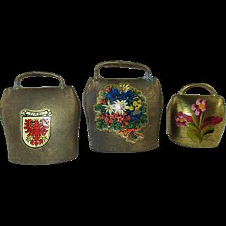 "Set of 3 Vintage Tinkling Miniature Metal Cow Bells - 1"" - 1 7/8"" Tall"
