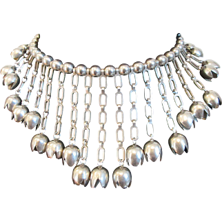 Unique Vintage Silver Necklace with Tulip Shaped Tinkling Bells