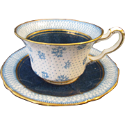 English Paladin R Hughes & Co Fenton Deep Cornflower Blue White and Gold Cup and Saucer - c1920's