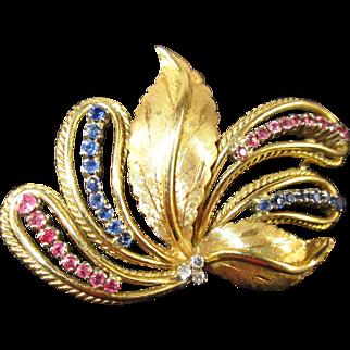 18K Yellow Gold Carl Bucherer Diamond, Sapphire and Ruby Brooch - c. 1960