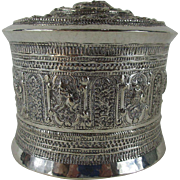Burmese late 19th Century Silver Repoussé 3 Piece Canister