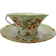 Rosenthal Hand Painted Porcelain Cup and Saucer c 1891