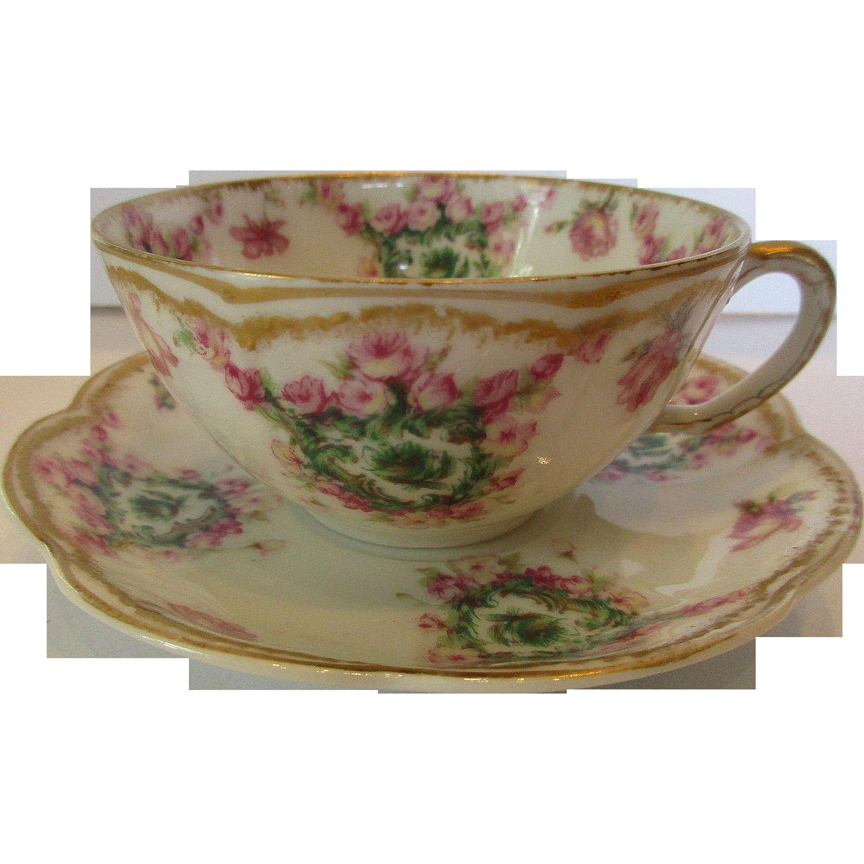 Early Vintage Limoges Haviland Porcelain Cup And Saucer C