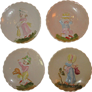 Set of 4 Charming English 'Children' Miniature Saucers - c 1850