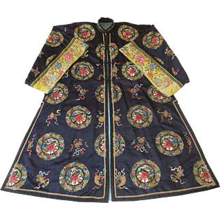 Antique Chinese Long Robe Lavishly Embroidered Roundels and Forbidden Stitch on Midnight Blue Satin Silk - Qing Dynasty c. 1880