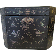 Large Oriental Black Lacquer Box Inlaid with Mother of Pearl