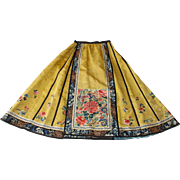 Antique Chinese Imperial Yellow Silk Damask Panel Wedding Skirt with Exceptional Silk Embroidery including 'Forbidden Stitch' - Qing Dynasty c 1880