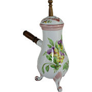 French Chocolate/Coffee Pot with 'Moussoire'/Mixing Rod Hand Painted Viola Flowers and Detail - c 1920