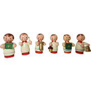Group of 6 Vintage Miniature Erzgebirge Church Carolers - for Dollhouse or Cakes