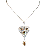 Citrine and Sterling Silver Filigree Heart Shaped Pendant with Citrine Drop and Silver Chain - c 1900