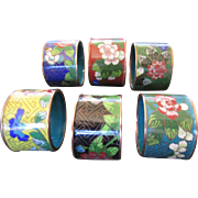 Colorful Oriental Cloisonné Napkin Rings - Set of 6