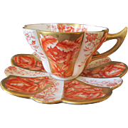 Rare Antique English Wileman Pre Shelley The Foley China Coral Gold and White Cup and Saucer - c 1894