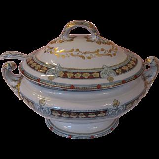 Impressive Antique Davenport Soup Tureen and Ladle Stone China ~ c 1840