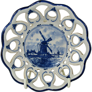 Vintage Hand Painted Delft Shallow Bowl with Pierced Edge