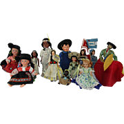 Group of of Twelve Vintage International Dolls Including Chinese, Spanish and Native American