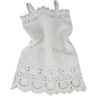 Antique Fine Cotton Embroidered Slip/Chemise for Jumeau 'Bebe' Doll