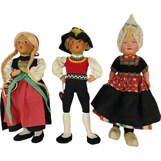 Group of Three Vintage Baitz Austrian and Dutch International Dolls