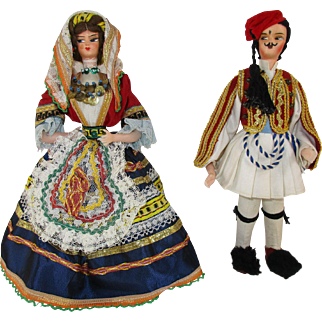 "Two 9 - 9 1/2"" Greek International Travel Dolls - c 1960's"