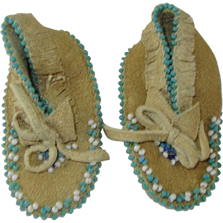 Dolls Soft Buckskin Beaded Moccasins