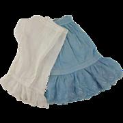 Vintage Cotton Half Slip and Pantaloons for Large Doll - Eyelet Trim