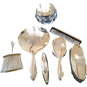 Solid Sterling 7 piece Dressing Table Set ~ Art Deco Style c 1935