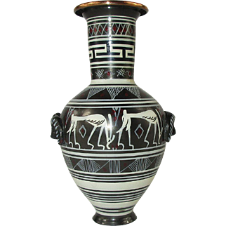 Miniature Etruscan Style Hand Painted Vase on Copper