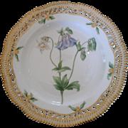 "Royal Copenhagen Flora Danica Pierced 9"" Lunch Plate Aquilegia vulgaris L"