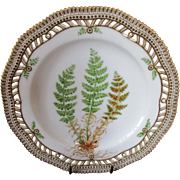 "Royal Copenhagen Flora Danica Pierced 9"" Lunch Plate Aspidium fragrans, Presl"
