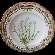 "Royal Copenhagen Flora Danica Pierced 9"" Lunch Plate ~ Myosotis stricta. Link"