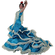 "Vintage Spanish Flamenco Dancer 13 1/2"" Doll"