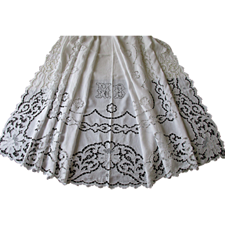 Magnificent French 'Fil de Lin' Linen Queen Bed Sheet with Elaborate Richelieu Embroidery ~ c. 1900