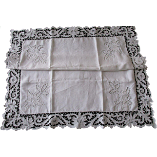 Exceptional Pair French Linen Pillowcases Richelieu Embroidery - Monogrammed MB - c. 1900
