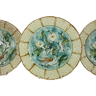 "French Majolica Barbotine 8 1/2"" Plates Turquoise and Pale Yellow with Birds and Florals - Set of 3 - c 1906"