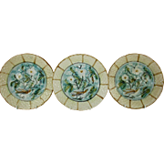 """French Majolica 'Barbotine' 8 1/2"""" Plates - Turquoise and Pale Yellow with Birds and Florals - Set of 3 - c 1906"""