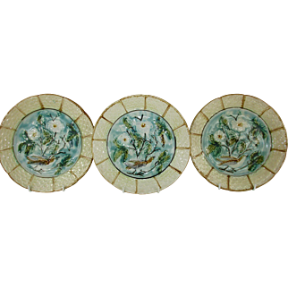 "French Majolica 'Barbotine' 8 1/2"" Plates - Turquoise and Pale Yellow with Birds and Florals - Set of 3 - c 1906"